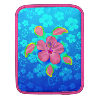 Tropical Honu Turtle and Hibiscus Sleeves For iPads