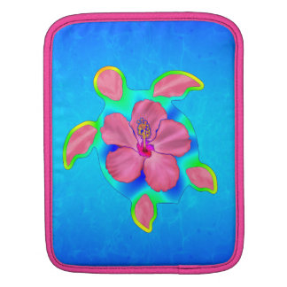 Tropical Honu Turtle and Hibiscus Sleeve For iPads