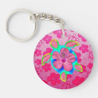 Tropical Honu Turtle and Hibiscus Keychain