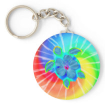 Tropical Honu Turtle and Hibiscus Keychain