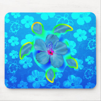 Tropical Honu Turtle and Hibiscus Mouse Pad