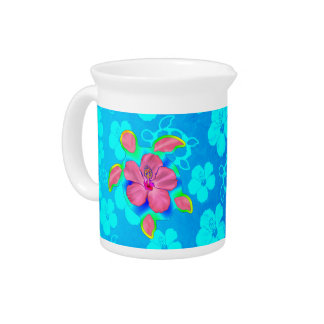 Tropical Honu Turtle and Hibiscus Pitcher