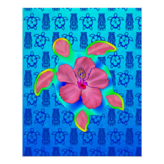 Tropical Honu Turtle and Hibiscus Poster