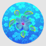 Tropical Honu Turtle and Hibiscus Round Stickers