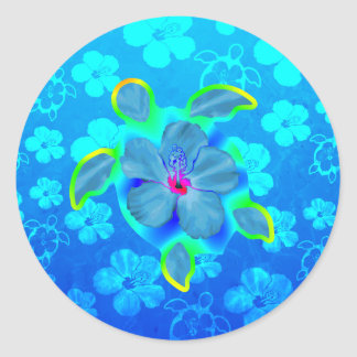 Tropical Honu Turtle and Hibiscus Classic Round Sticker