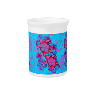Tropical Honu Turtles And Hibiscus Flowers Beverage Pitcher