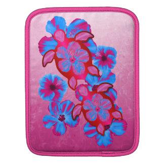 Tropical Honu Turtles And Hibiscus Flowers iPad Sleeve