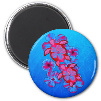 Tropical Honu Turtles And Hibiscus Flowers Magnets