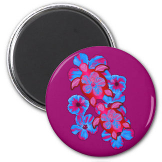 Tropical Honu Turtles And Hibiscus Flowers Refrigerator Magnet