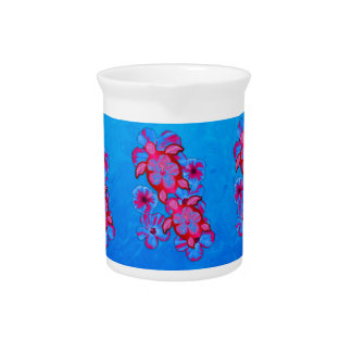Tropical Honu Turtles And Hibiscus Flowers Pitcher