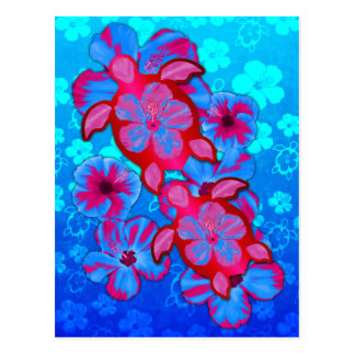 Tropical Honu Turtles And Hibiscus Flowers Post Card