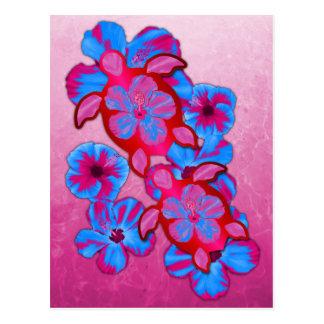 Tropical Honu Turtles And Hibiscus Flowers Postcard