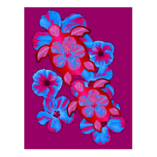 Tropical Honu Turtles And Hibiscus Flowers Postcards