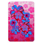 Tropical Honu Turtles And Hibiscus Flowers Rectangle Magnet