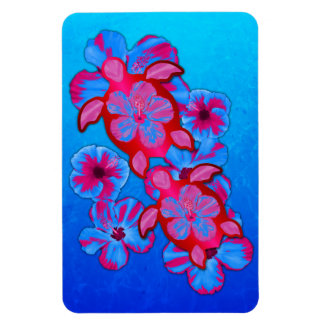 Tropical Honu Turtles And Hibiscus Flowers Flexible Magnets