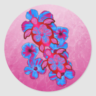 Tropical Honu Turtles And Hibiscus Flowers Classic Round Sticker