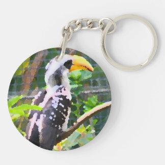 tropical hornbill bird abstract painting keychain