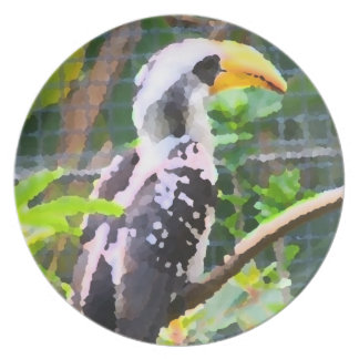 tropical hornbill bird abstract painting party plate