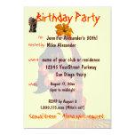 Tropical Hula Girl Birthday Party Card