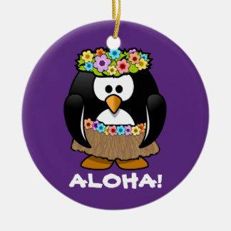 Tropical Hula Hawaiian Penguin Double-Sided Ceramic Round Christmas Ornament