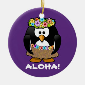 Tropical Hula Hawaiian Penguin Christmas Tree Ornaments