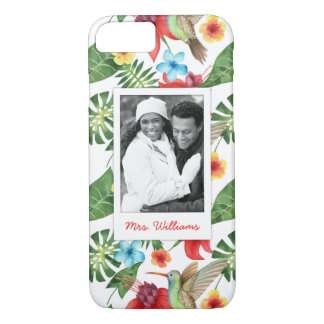 Tropical Hummingbird | Add Your Photo & Name iPhone 7 Case