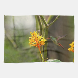 Tropical Hummingbird and Flower Towel