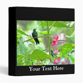 Tropical Hummingbird and Flowers 3 Ring Binder