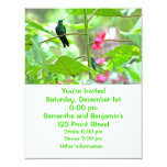"Tropical Hummingbird and Flowers 4.25"" X 5.5"" Invitation Card"