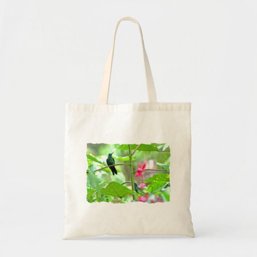 Tropical Hummingbird and Flowers Tote Bags
