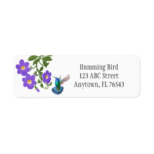 Tropical Hummingbird on Thunbergia Flowers Avery L Label