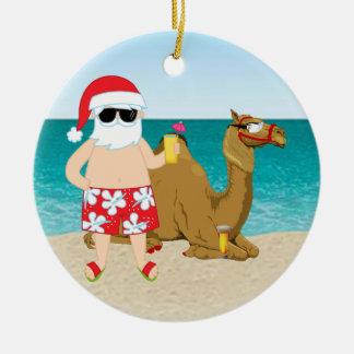 Tropical Hump Day Camel Santa Christmas Ornament