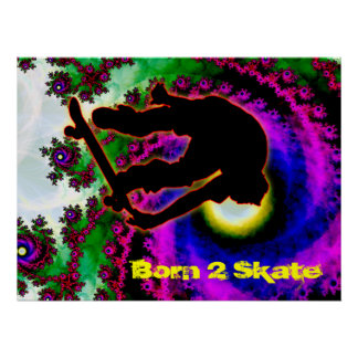 Tropical Hurricane Eye with Skateboarder Poster