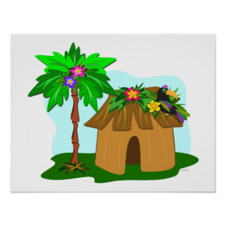 Tropical Hut Palm Tree and Toucan Posters