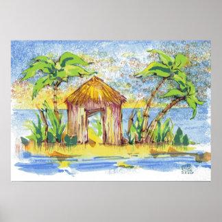 Tropical Hut Pop Art Poster