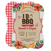 Tropical I do BBQ invitation. Engagement party Invitation