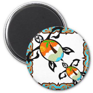 Tropical-impresión-tortuga Imán Redondo 5 Cm