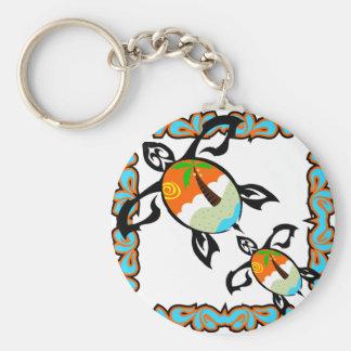 Tropical-impresión-tortuga Llavero Personalizado