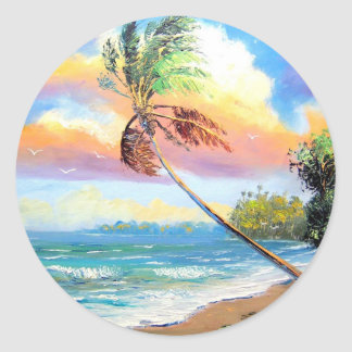 Tropical Inlet Bay Classic Round Sticker