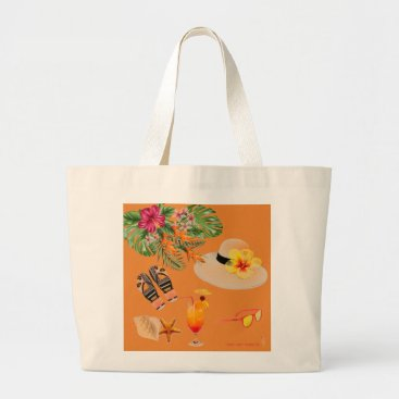 Tropical inspired beach tote