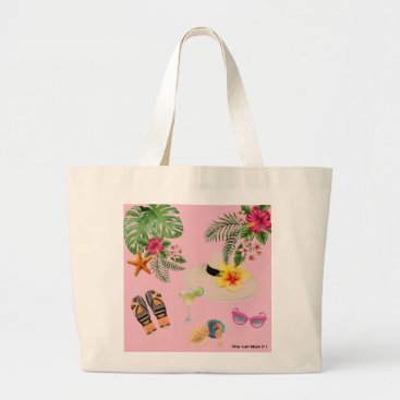 Tropical inspired large beach bag