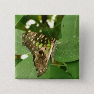 Tropical Iridescent Green Butterfly Button