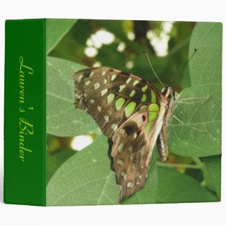 Tropical Iridescent Green Butterfly Custom Binder