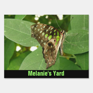 Tropical Iridescent Green Butterfly Custom Sign