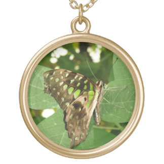 Tropical Iridescent Green Butterfly Necklace