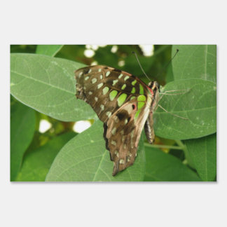 Tropical Iridescent Green Butterfly Yard Sign