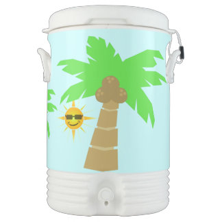 Tropical Isand Palm Tree and Sunny Sun Face Beach Cooler
