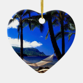 Tropical Island Afternoon Nap Kauai Hawaii Double-Sided Heart Ceramic Christmas Ornament