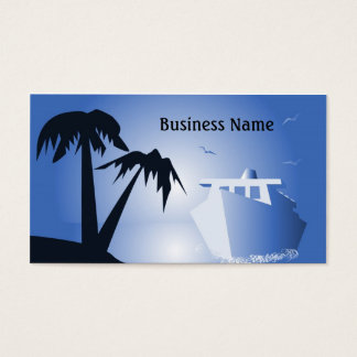 Tropical island and cruise liner business card