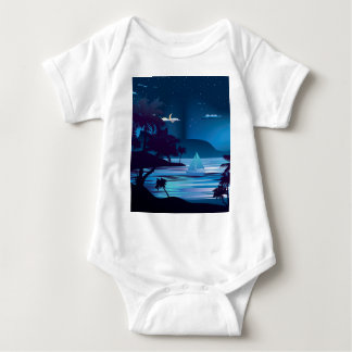 Tropical Island at Night2 Baby Bodysuit